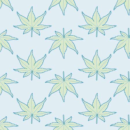 Smooth Japanese Maple leaves seamless vector pattern. Cartoon Palmatum foliage illustration background.