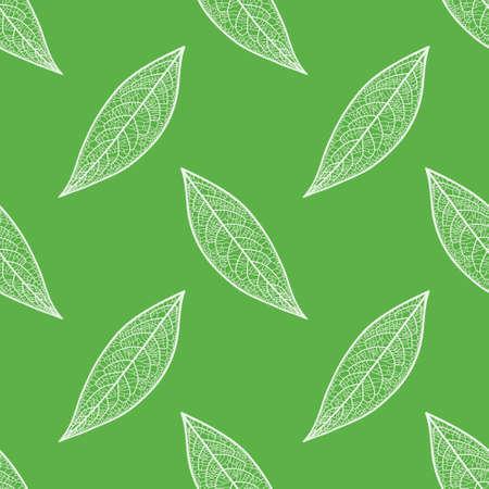 Vector skeleton leaf repeating pattern. Vein textured foliage illustration background. Ilustração