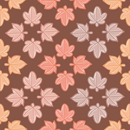 Fall palmated leaves seamless pattern background. Diamond foliage vector illustration.