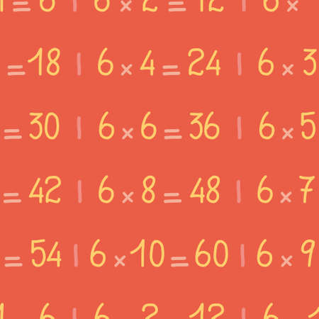 Six times table vector repeating pattern. Lettering math operation seamless illustration background.