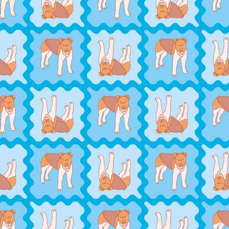 Fox Terrier tiles seamless pattern background. Cute little dog vector illustration. Stock Illustratie