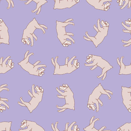 Rotated Schnauzer seamless pattern background. Cute walking dog vector illustration. Stock Illustratie