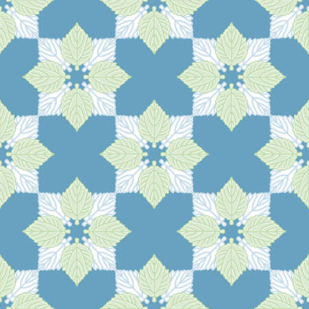 White Poplar foliage vector repeating pattern. Overlapped leaves seamless illustration background.