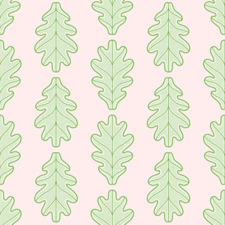 Oak leaf vector repeat pattern. Cartoon lobed greenery seamless illustration background.