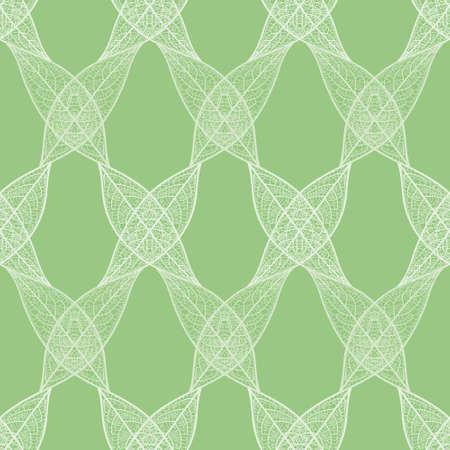 Skeleton leaf lattice vector repeating pattern. Abstract organic grid seamless illustration background.