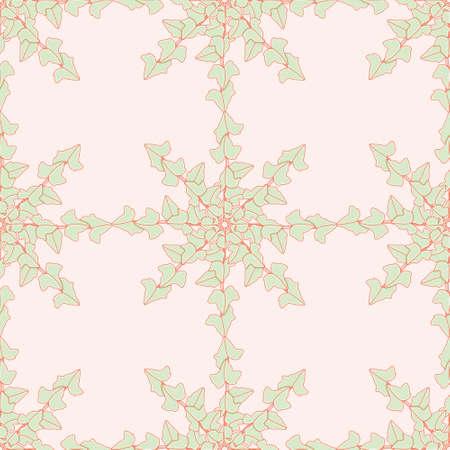Hedera plant mandala vector repeating pattern. Cartoon foliage medallion seamless illustration background. Ilustracja