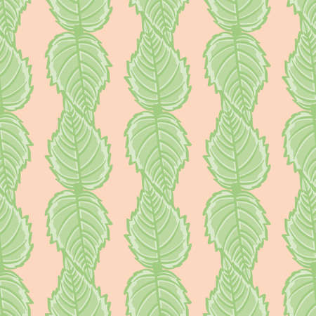 Trumpet Creeper Leaf vector repeating pattern. Serrated edge greenery illustration background.