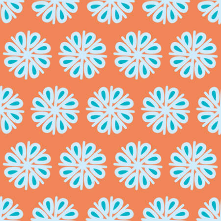 Flower abstract seamless vector pattern. Retro floral pinwheel illustration background.