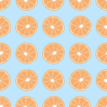 Orange slice seamless vector pattern. Doodle citrus illustration background.
