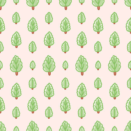 Doodle forest vector repeat pattern. Cute trees illustration background.