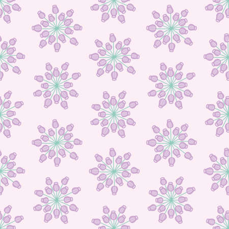 Vector cute bud pattern seamless. Abstract flower sampling illustration background.