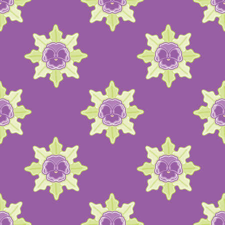 Seamless garden pansy pattern vector. Cute purple flower with leaves illustration background.