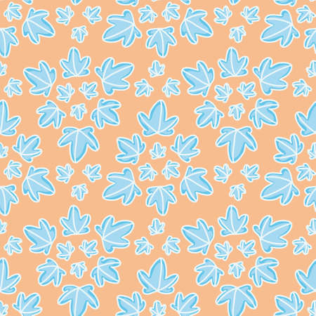 Seamless star leaf pattern vector. Little blue foliage in triangles illustration background.