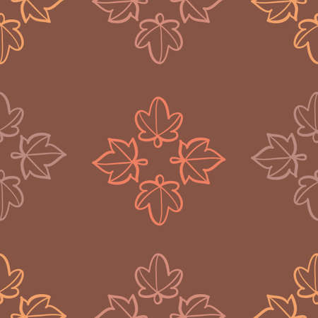 Seamless outlined foliage pattern vector. Autumn silhouette leaf illustration background. 向量圖像