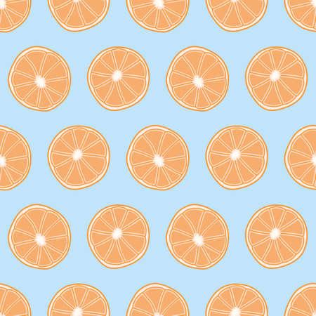 Orange slice vector repeat pattern. Cute citrus halves seamless illustration background. 向量圖像