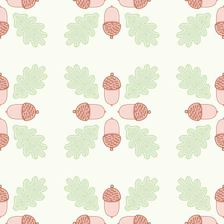 Seamless oak leaf and acorn pattern vector. Cute botanical illustration background.