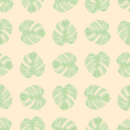 Delicious Monster seamless illustration pattern. Tropical leaf wallpaper background.