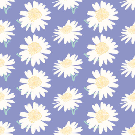 Seamless cute Marguerite pattern vector. Simple flower silhouette illustration background. 向量圖像