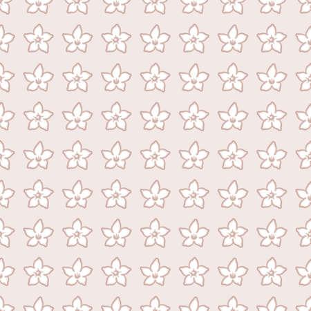 Hawaiian wedding flower vector repeat pattern. Madagascar jasmine illustration background.