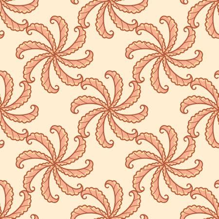 Leaf scroll seamless vector pattern. Autumn foliage swirl illustration background.