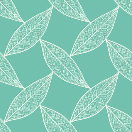 Seamless skeleton leaf pattern vector. Veined foliage grid illustration background. 向量圖像