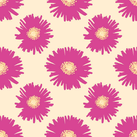 Ice plant vector repeat pattern. Pink flower silhouette seamless illustration background.