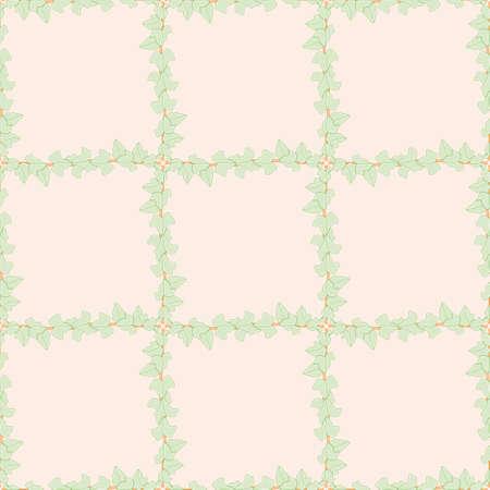 Trailing plant lattice seamless illustration pattern. Hedera leaves wallpaper background. 向量圖像