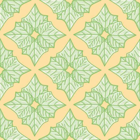 Ivy quatrefoil vector repeat pattern. Vine leaf seamless illustration background.