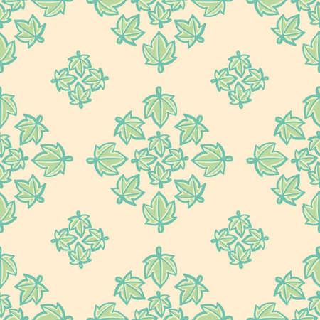 Lobed leaf medallion seamless illustration pattern. Cartoon foliage wallpaper background.