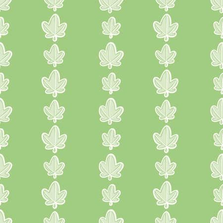 Cartoon leaf column seamless illustration background. Doodle greenery wallpaper background. 向量圖像