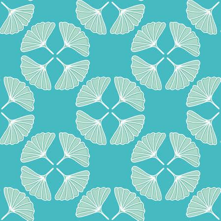 Gingko greenery seamless illustration pattern. Fan shape leaves wallpaper background.
