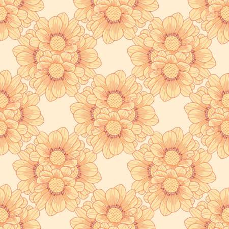 Seamless cute Gazania pattern vector. Yellow flower bunch illustrator background.
