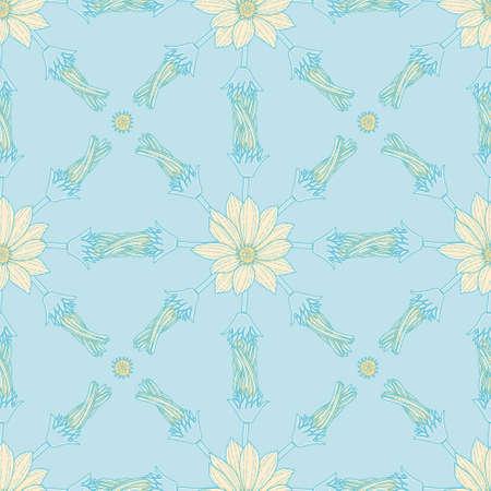 Gazania flower and sampling vector repeating pattern. Doodle floral illustration background.