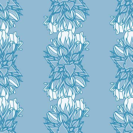 Geranium sampling seamless illustration pattern. Abstract botanical wallpaper background. Çizim