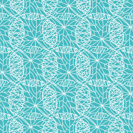 Abstract curvy lines vector repeat pattern. Overlapped skeleton leaves seamless illustration background.