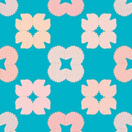 Geranium leaf floral vector background pattern. Cute quatrefoil seamless illustration background.