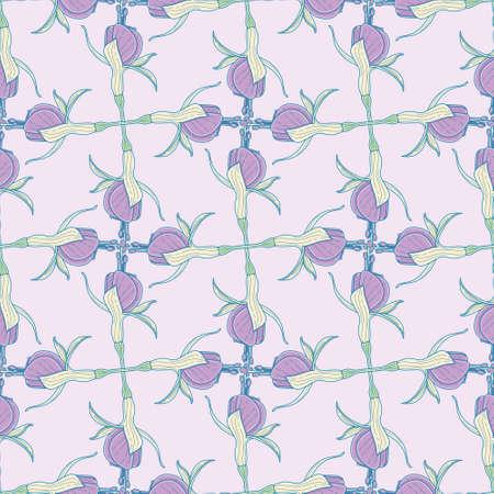Fuchsia flower grid seamless illustration pattern. Retro style floral wallpaper background.