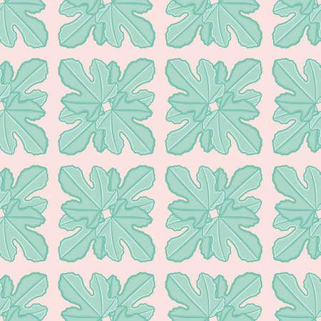 Fig leaf square seamless illustration pattern. Botanical grid wallpaper background.