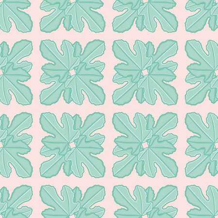 Fig leaf square seamless illustration pattern. Botanical grid wallpaper background.
