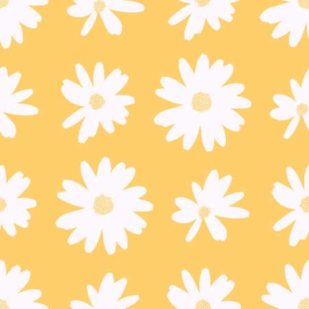 Daisy silhouette seamless illustration pattern. Cute happy flower wallpaper background.