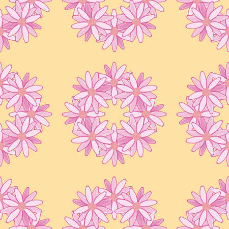 Daisy wreath surface pattern design. Pink flower crown seamless vector illustration.