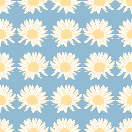 Vector daisies pattern illustration. White and yellow flower seamless background.