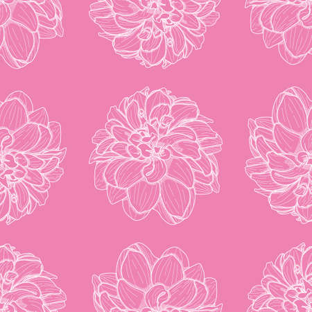Outlined dahlia seamless illustration pattern. Pink and white crosshatching floral wallpaper background.