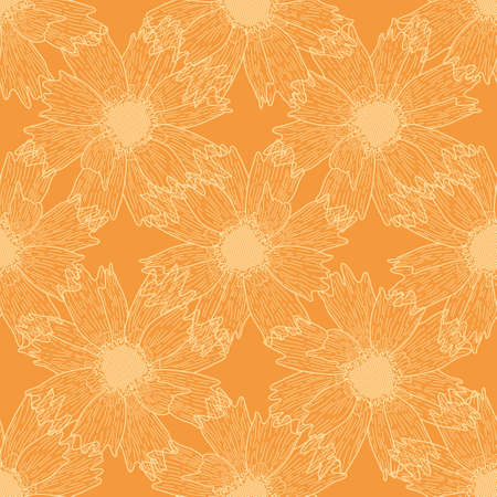Calliopsis flower vector repeat pattern. Outlined floral seamless illustration background. 向量圖像