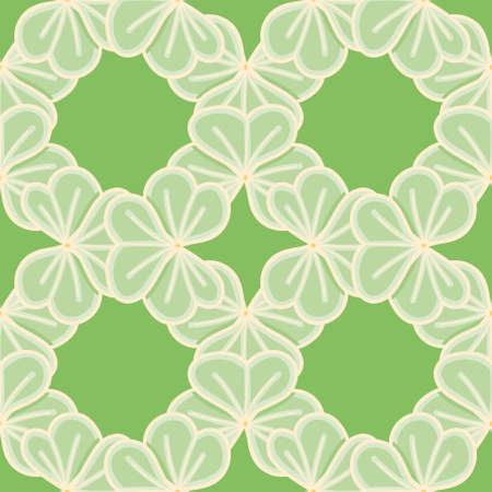 Cute clover grid seamless illustration pattern. Three leaf shamrock vector wallpaper background.