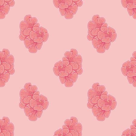 Hummingbird vine flower seamless illustration pattern. Red floral bunch wallpaper background. 向量圖像