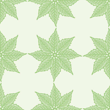 Campsis leaf star seamless illustration pattern. Toothed margin foliage wallpaper background.