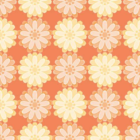Seamless Scotch marigold pattern vector. Cute big flower illustration background.
