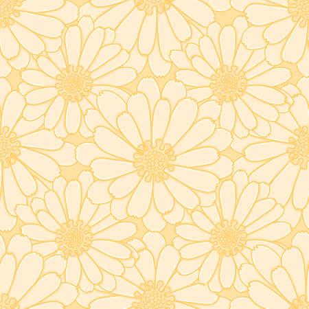 Common marigold vector background pattern. Yellow calendula flower seamless illustration