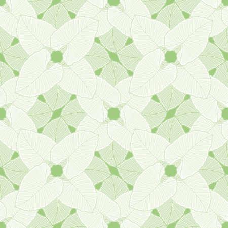 Elephant ear leaf seamless illustration pattern. Green lattice foliage vector wallpaper background.
